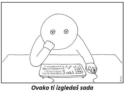 depresija sjedi za kompjuterom nesretan